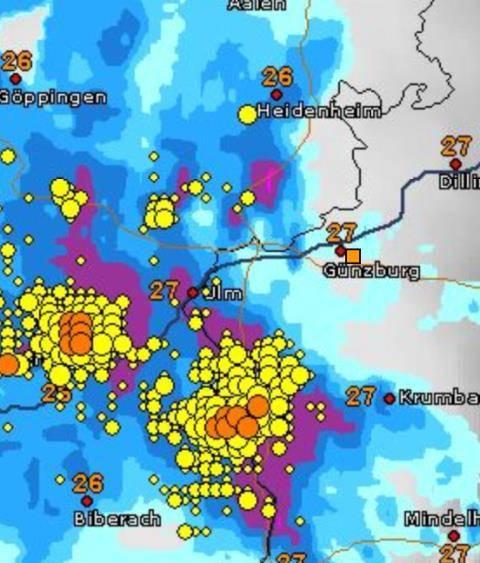 Unwetter über Raum Günzburg