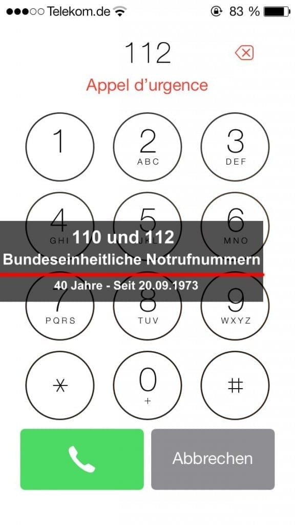 BSAktuell, Einheitliche Notrufnummern, Nachrichten, Seit 20.09.1973 einheitlicher Notruf,