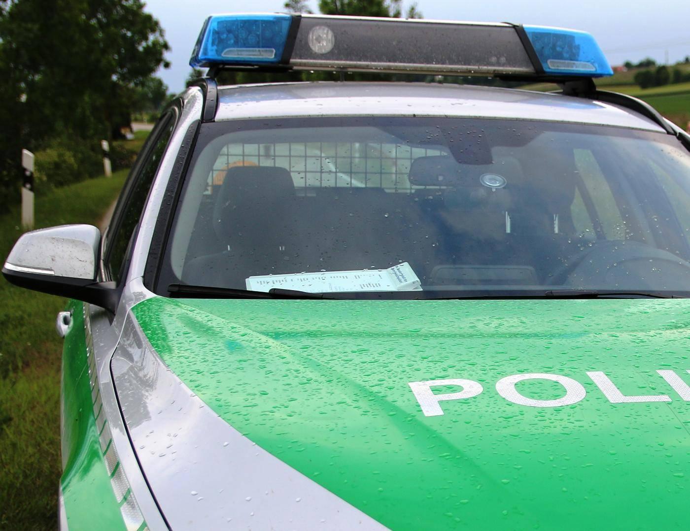 Polizeiauto auf der Strasse.