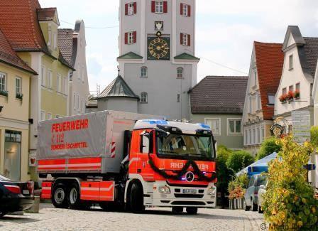 Wechselladerfahrzeug der Feuerwehr Günzburg.
