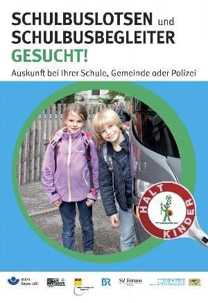Plakatkampagne zur Gewinnung von zusätzlichen Schulbuslotsen und Schulbusbegleitern.