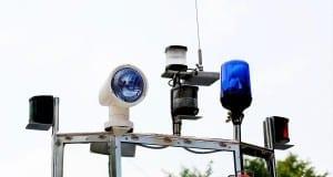 Feuerwehr Boot mit Blaulicht