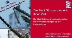 Kostenloses Parken an den Samstagen im Advent in Günzburg.
