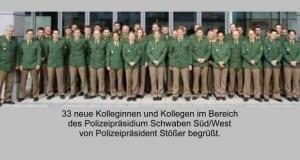 Polizeipraesidium Schwaben Süd/West begrüßte neue Polizeibeamte.