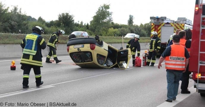 Verkehrsunfall auf der Autobahn 8 zwischen Leipheim und AD Ulm-Elchingen am 22.08.2016