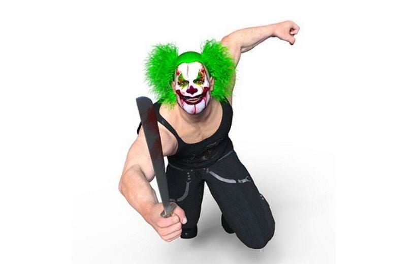 Mann mit Clown Maske