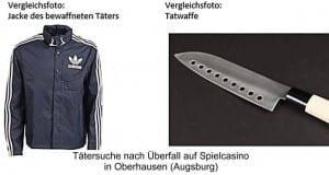 Tatwaffe und Jacke des Täters in Augsburg - Oberhausen