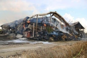 Brand von Lagerhallen in Anhofen, im Kreis Günzburg