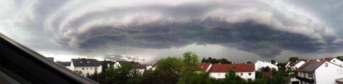 Blick über Günzburg Unwetter