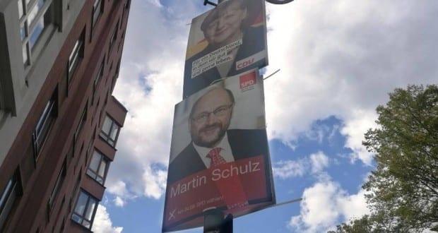 Wahlplakate von SPD und CDU