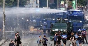 Wasserwerfereinsatz bei Anti-G20-Protest in Hamburg