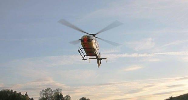 Rettungshubschrauber Anflug ADAC