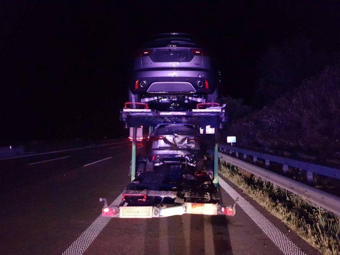 Auffahunfall A8 Leipheim Autotransporter 2