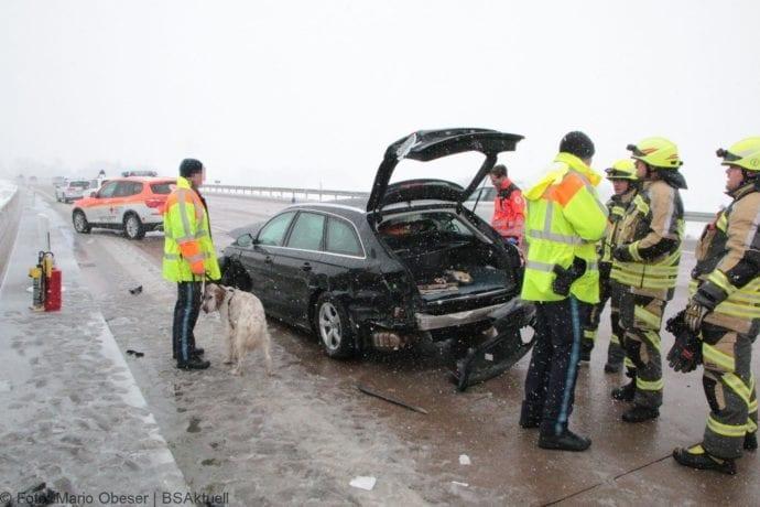 Unfall A8 Günzburg-Burgau Hund entlaufen 03022019 4