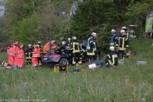 Cabrio prallt zwischen Leipheim und Günzburg gegen Baum am 19.05.2019