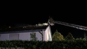 Günzburg Dachstuhlbrand nach Blizschlag Mozartring 07072019 10