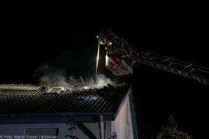 Günzburg Dachstuhlbrand nach Blizschlag Mozartring 07072019 11