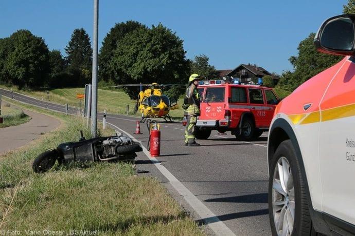 Unfall Günzburg Weißenhorner Straße Roller 04072019 2