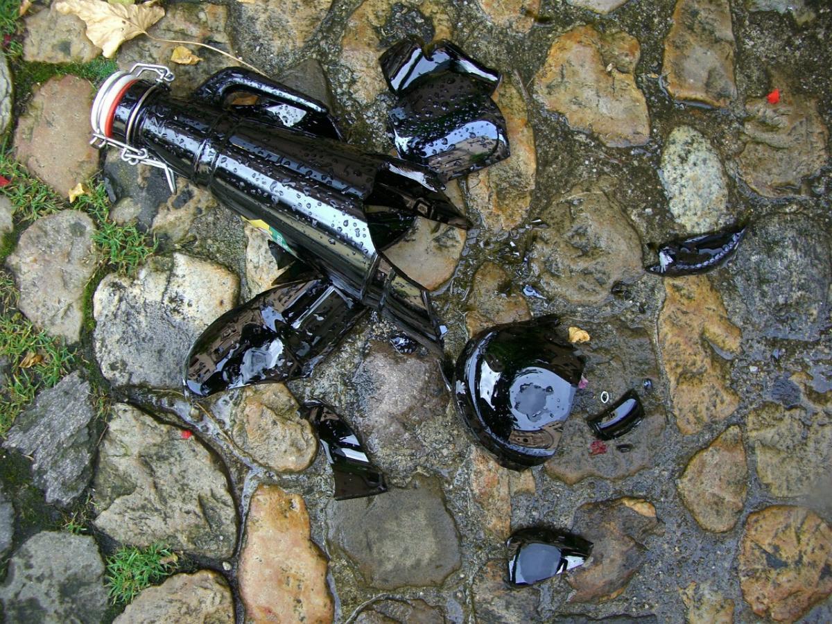 Flasche Glasscherben