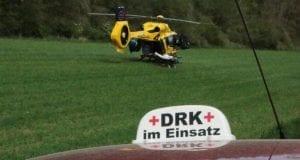 Motorradunfall Motorrad Rettungshubschrauber DRK