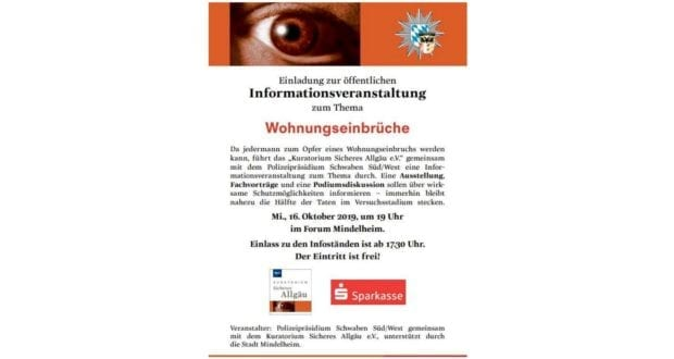 Infoabend Wohnungseinbruch Mindelheim 2019