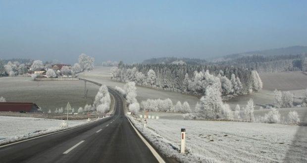 Schnee Glatt Eis Straße Winter