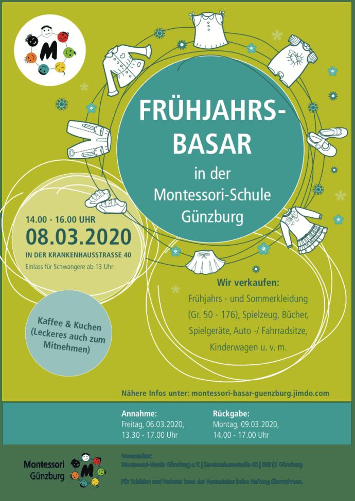Montessori Guenzburg Plakat Basar Fruehjahr 2020