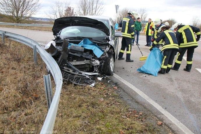 Unfall Gundelfingen-Medlinger Straße B492 14022020 6