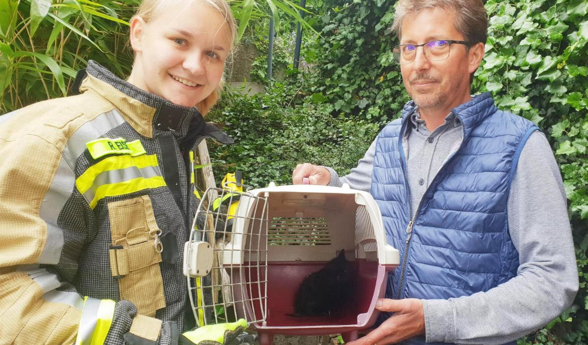 Kaetzchen gerettet Feuerwehr Guenzburg 2a