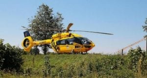 Rettungshubschrauber CH22 Ulm gelandet