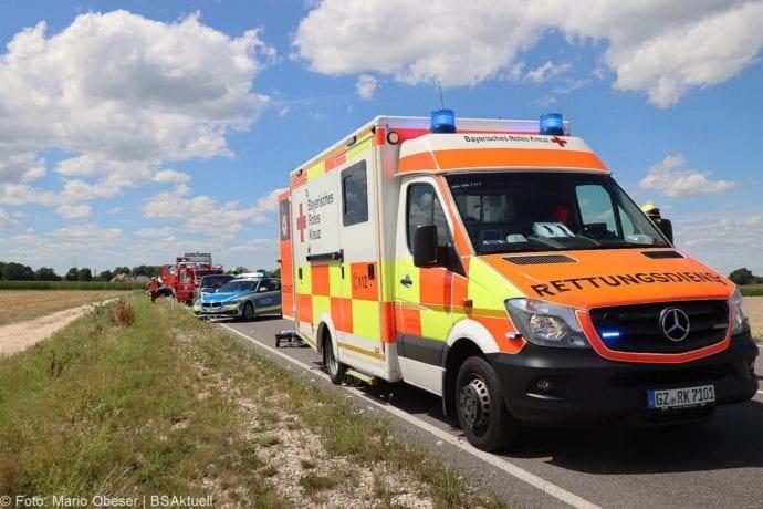 Unfall Cabrio zw Leinheim und Kreisverkehr Limbach 27072020 3