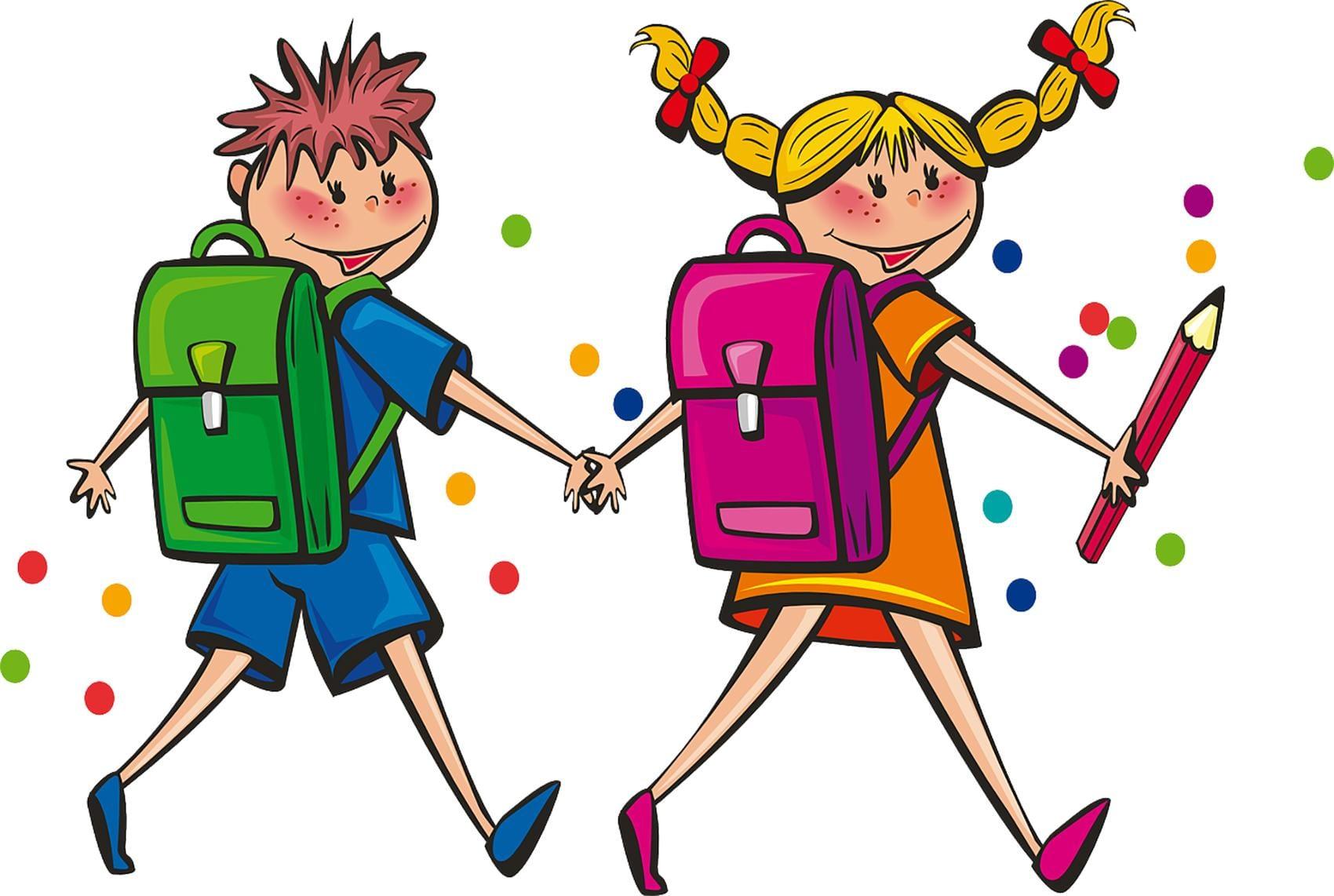 Schulkinder Schulweg