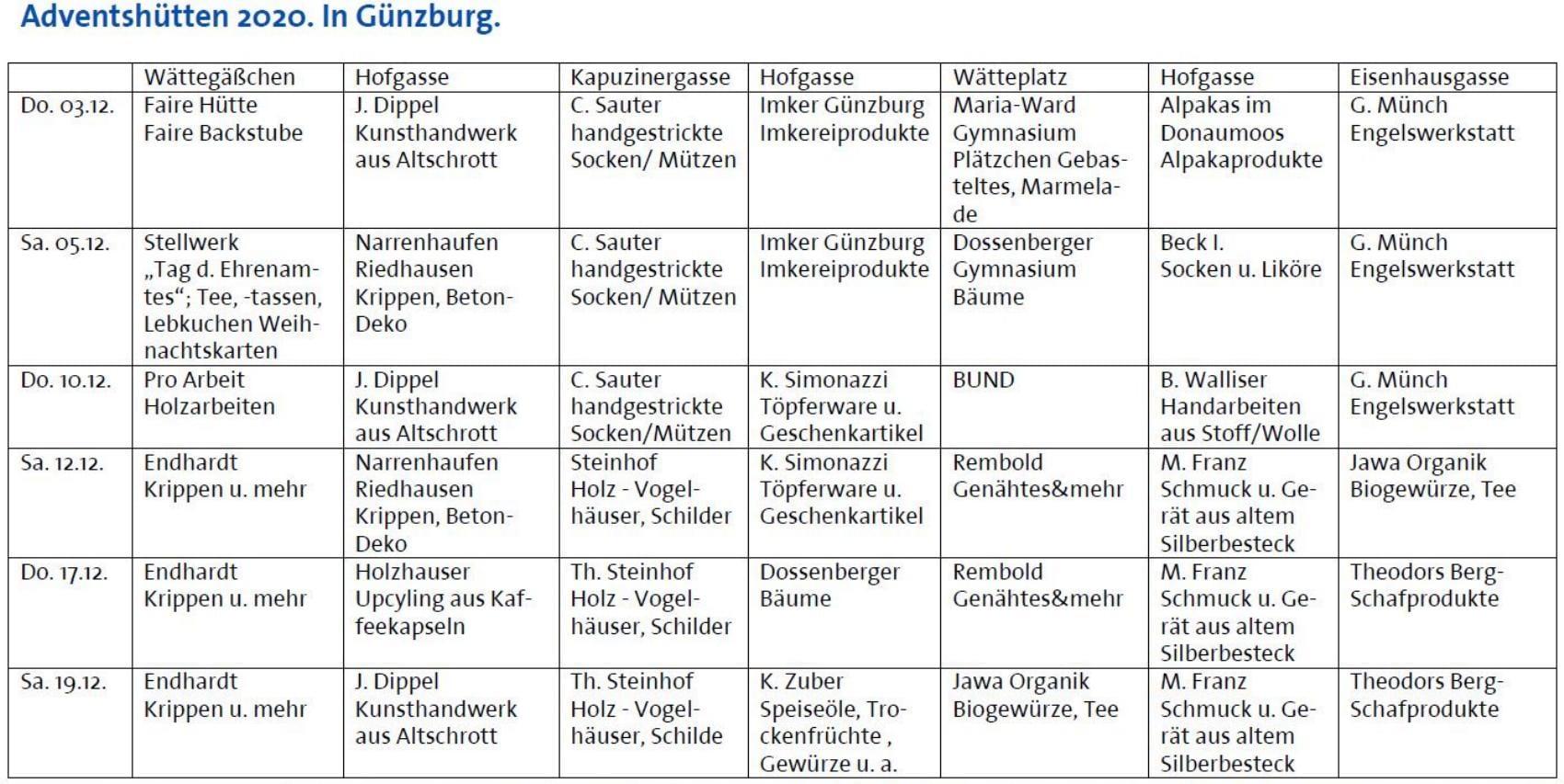 Angebot Adventshuetten Guenzburg