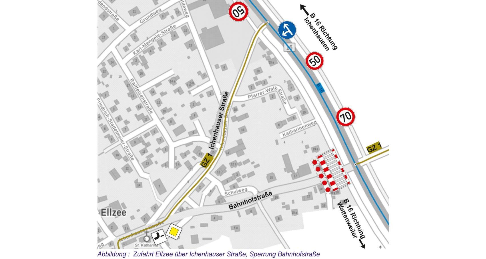 Umbau Kreuzung B16 Ellzee