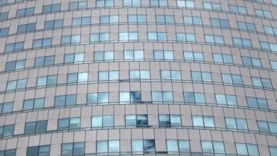 Glasfassade an einem Buerohaus dts