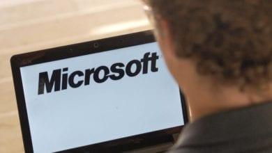 Microsoft-Logo auf einem Computer dts