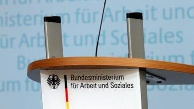 Rednerpult im Bundesministerium für Arbeit und Soziales dts